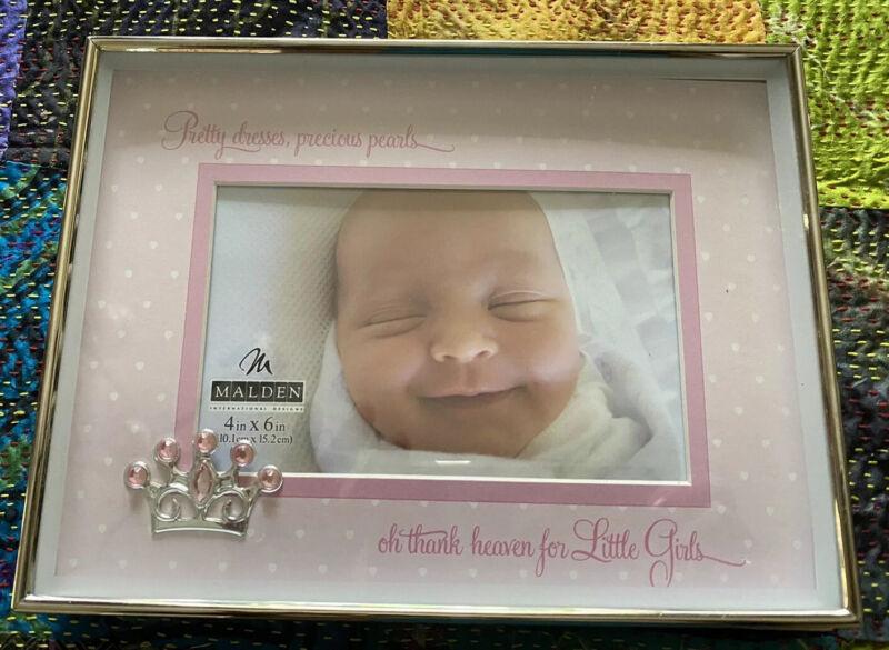 New Malden Baby Girl Shadowbox Picture Frame Rhinestone Crown