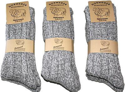6 Paar dicke Herren Norweger Socken Ski 70% Schafwolle wie handgestrickt SP %