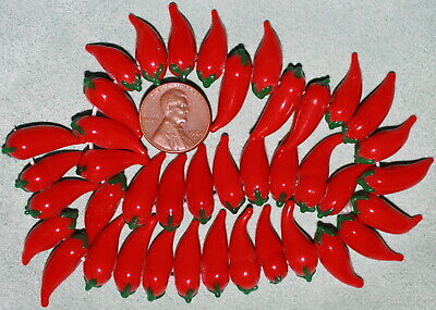 - 10 Red Hot Chili Pepper Lampwork Beads