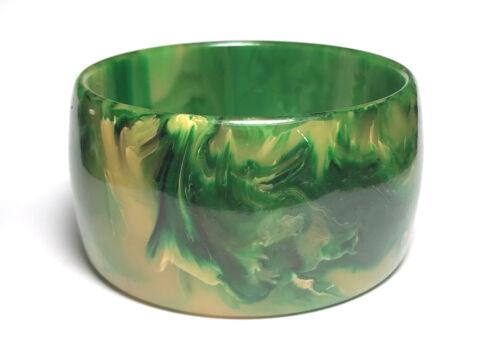 """Art Deco END OF DAY Green/Yellow/Black BAKELITE Marbleized BANGLE 1.5"""" BRACELET"""
