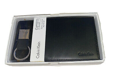 Calvin Klein Men's Leather Key Fob Bookfold Wallet Keychain NEW black Set 79220