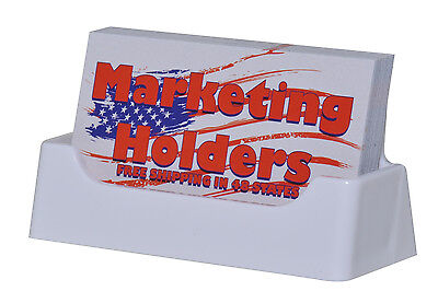 White Plastic Business Card Holder Display Stand Desk Top Made In The Usa