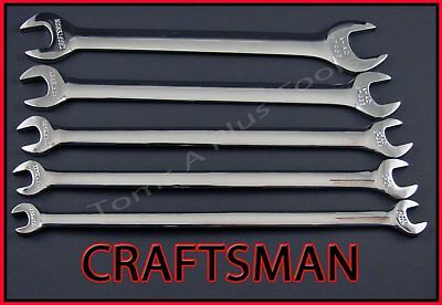 CRAFTSMAN HAND TOOLS 5pc FULL POLISH SAE Thin Head Tappet Open End Wrench set