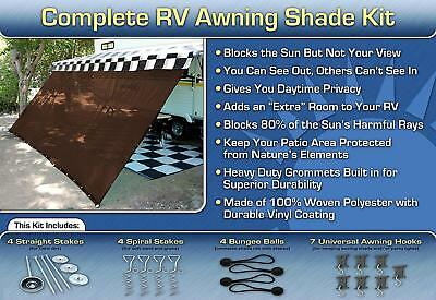 RV Camper Trailer Awning Sun Shade Kit Motorhome Patio Privacy Screen, 8' x 16'