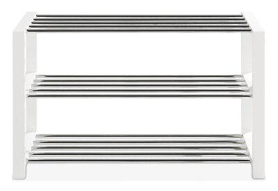 Schuhregal Schuhablage Schuhständer Dekor Weiß 3 Ablagen 80x50x30 cm ULFI