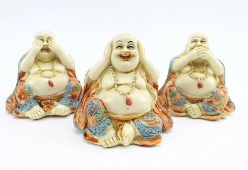 3 Feng Shui Hear See Speak No Evil Happy Face Laughing Buddhas Figurines Statues