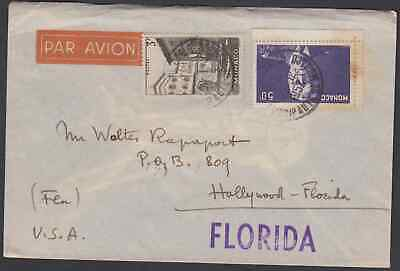 MONACO 1952 MULTIFRANKED AIRMAIL COVER TO HOLLYWOOD USA