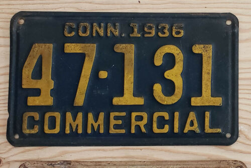 1936 CONNECTICUT Commercial  License Plate  36 CT COM   47131