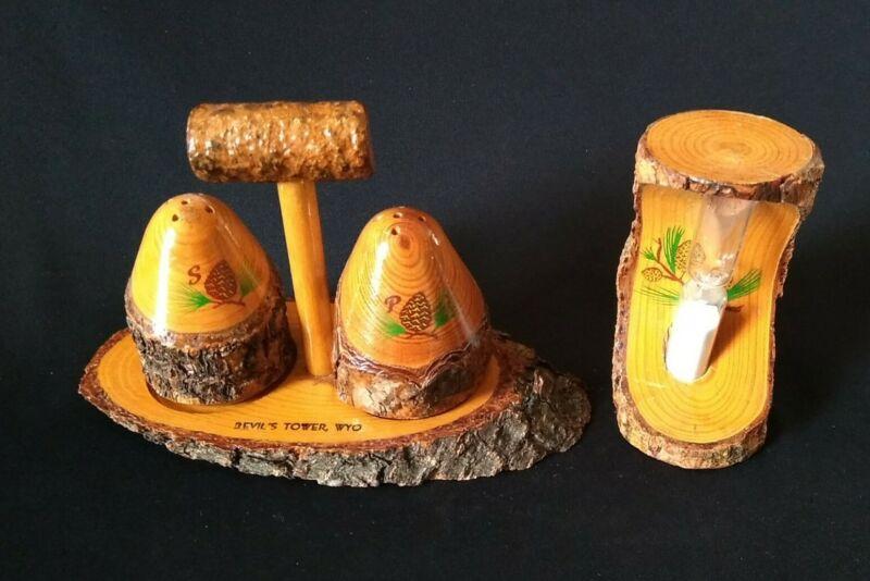 Antique Souvenir Bark Weird Wood Salt Pepper Shakers & Sand Timer Hourglass WYO