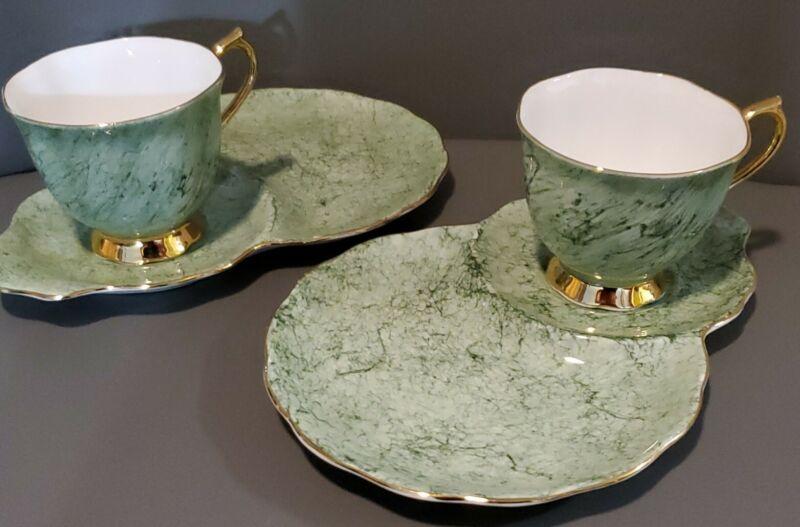 ROYAL ALBERT ENGLAND GOSSAMER  GREEN TEA CUP & SAUCER SET OF 2