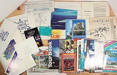 American Hawaii Cruises Vintage Ephemera Lot Maps Tickets Postcards More 1988