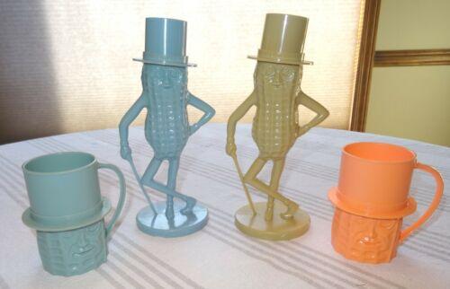 Lot of 2 Planters Mr Peanut Plastic Banks & 2 Mr Peanut Plastic Cups