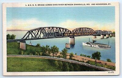 Postcard KY 1942 Henderson L&N RR Bridge Across Ohio River Boat Train B6