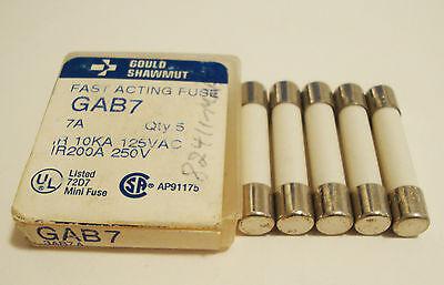 Lot Of 5 Gould Shawmut Gab7 7A 250V Bel 3Ab  1 4  X 1 1 4  Fuses