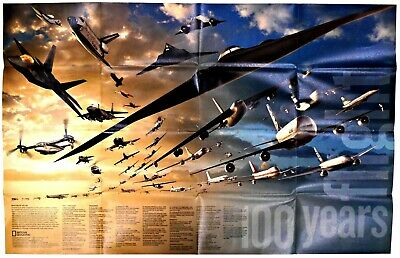 ⫸ 2003-12 100 Years of Flight – National Geographic Map  Poster School