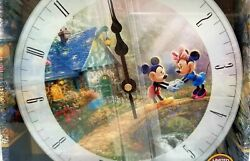 DISNEY MICKEY AND MINNIE THOMAS KINKADE GLASS WALL CLOCK ULTRA LIMITED EDITION