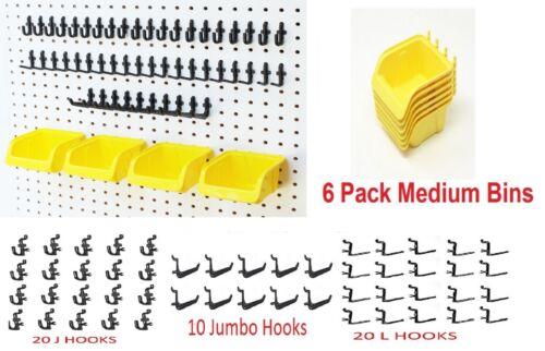 "JSP 56 Pegboard Kit Storage Part Bins Locking Peg Hooks 1/4"" holes Hooks Craft"