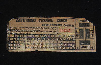 VINTAGE RAILROAD TRAIN TROLLEY STREETCAR TICKET PASS LINCOLN TRACTION COMPANY