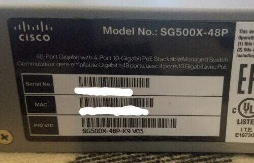 Cisco (SG500X-48P-K9 V05) 48-Ports-Ports Rack-Mountable Switch