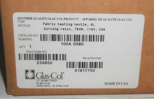 Glas-Col Fabric Round Bottom Heating Mantle 4L 12000mL Flask 100A O580