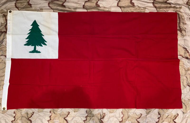 American Revolution Flag of New England BULLDOG Cotton Bunting 1960s - Pine Tree