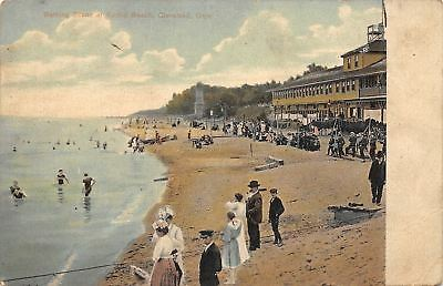 For sale Cleveland Ohio~Euclid Beach~Bathing Scene~Mostly Dressed People~1907 Postcard