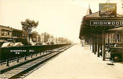 Illinois, IL, Highwood, Chicago North Western Line Depot 1940's Real Photo PC