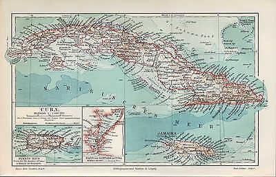 Landkarte map 1905: CUBA. PUERTO RICO. Hafen von Santiago de Cuba. Insel Ozean  ()