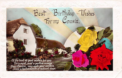 R248722 Best Birthday Wishes For my Cousin. Postcard. RP.