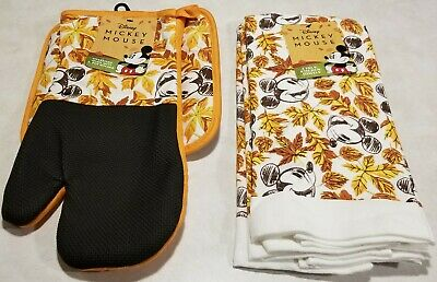 Disney mickey halloween fall leaves kitchen Thanksgiving hot pad mitt set towel