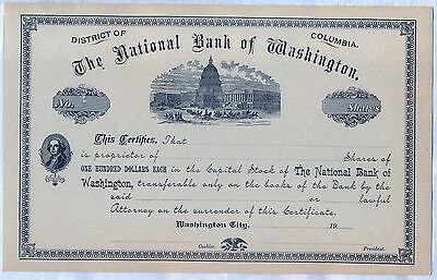 First National Bank of Washington D.C. District of Columbia Stock Certificate