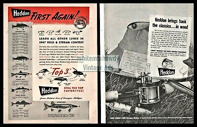 1948 and 1965 HEDDON Fishing Lure and Reel Vintage 2 AD LOT