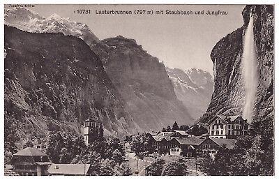 Lauterbrunnen mit Staubbach und Jungfrau - Klappkarte mit Edelweiß Einlage
