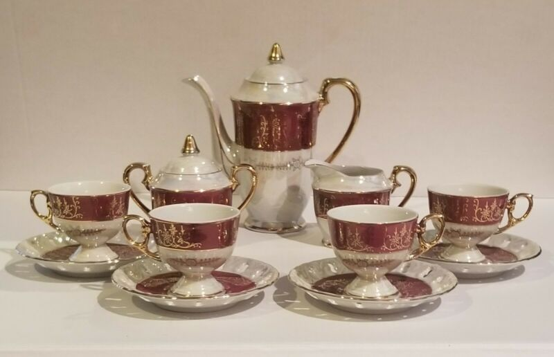 Vintage Japan China Tea Set Pearlescent Accented with 22k Nice Usable Set