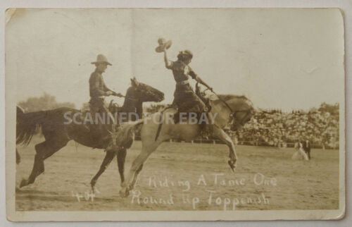 1920 RPPC Real Photo Postcard Photograph Toppenish, WA Round-Up Rodeo Ride - PC2