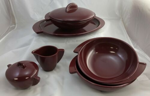 vintage Boonton serving dish set, burgundy melamine, 8 pieces