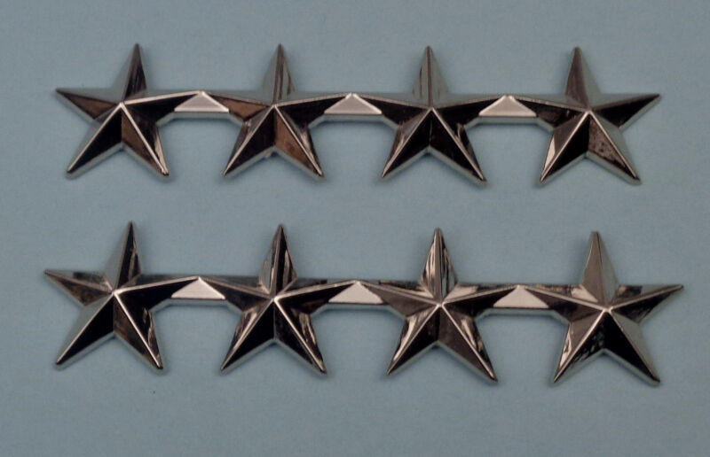 """4 stars 1"""" Polished Silver Pair Collar Pins Rank Insignia Police Chief/Sheriff"""
