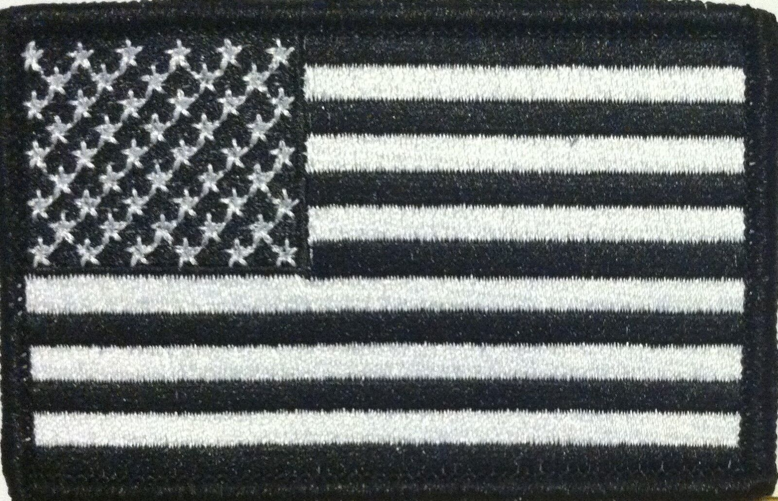 American USA Flag Iron-On Patch Morale Black & White Version