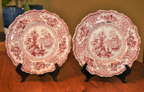 2 Lovely Antique Red Transferware Plates Adams Fountain Scenery Staffordshire