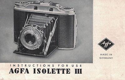VOIGTLANDER Isolette III Camera Instruction Manual - UK FREE POST (IN607)