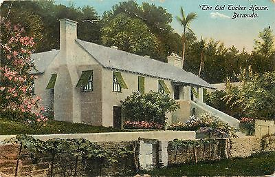 Vintage 1907-1915 Printed Postcard; The Old Tucker House, Bermuda, posted