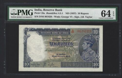 1937 INDIA 10 Rupees, P-19a Taylor, PMG 64 EPQ UNC, Rare Grade For This Type!