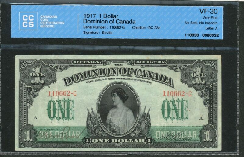 1917 Dominion of Canada $1 One Dollar. VF-30 CCCS. DC-23a.