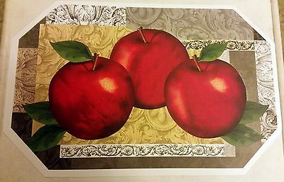 "Set of 4 Kitchen Deluxe Vinyl NON CLEAR Placemats (18"" x 12"") 3 APPLES"