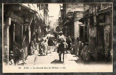 1900'S JUDAICA POSTCARD  UNUSED  FEZ MOROCCO JEWISH  GETTO-MELLAH MAIN STREET