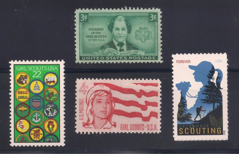 GIRL SCOUTS - COMPLETE SET OF 4 U.S. POSTAGE STAMPS - MINT CONDITION