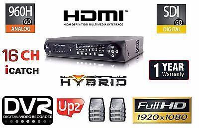 16CH Embedded Linux H.264 480IPS Hybrid Security 1080P DVR 960H/HD-SDI/Audio