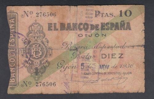 Spain 10 Pesetas 05-11-1936  Poor  P. S 572,   Banknote, Circulated
