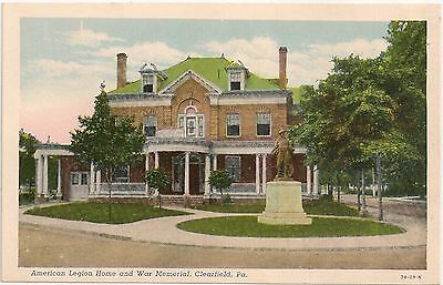 American Legion Home And War Memorial In Clearfield Pa Postcard