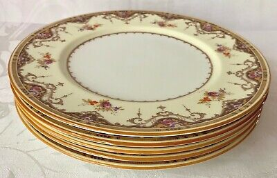 FIVE c1905 CAULDON FOR TIFFANY & CO 9 1/8 INCH LUNCH PLATES, V8480